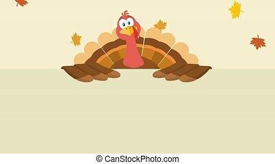 Turkey Bird Cartoon Character Over A Blank Sign. 4K ...