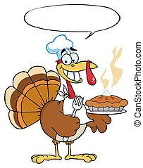 Turkey Bird Holding A Pie