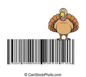 Turkey Bird Over the Barcode