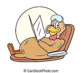 Turkey Bird Sunbathing Vector - Happy Turkey Bird Relaxing...