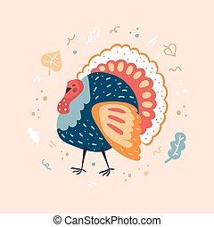 Turkey bird. Thanksgiving day. Flat vector illustration.