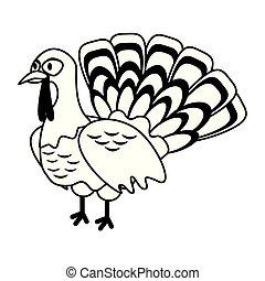 Turkey bird thanksgiving food in black and white