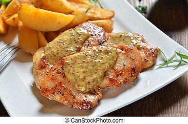 Turkey breasts with honey-mustard sauce