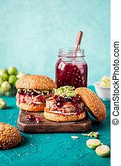 Turkey Burger with Cranberry Sauce