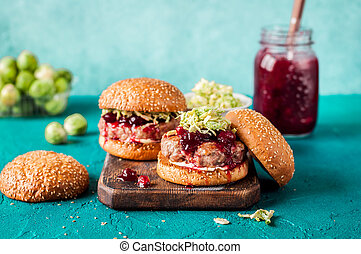 Turkey Burger with Cranberry Sauce and Brussels Sprout...
