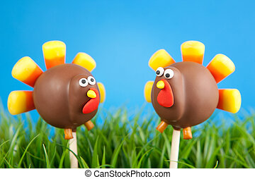 Turkey cake pops - Thanksgiving cake pops. Mini cakes on...