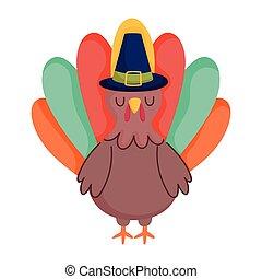 turkey cartoon bird with pilgrim hat isolated icon design