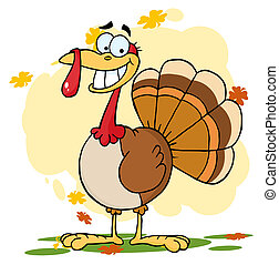 Turkey Cartoon Character - Thanksgiving Turkey Bird Smiling...