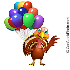 Turkey  cartoon character with baloon