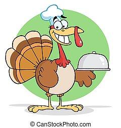 Turkey Cartoon Chef Serving