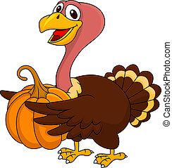 Turkey cartoon with pumpkin