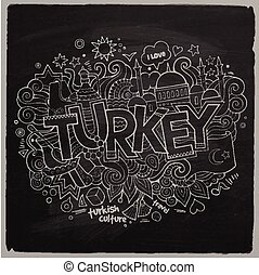 Turkey chalkboard background - Turkey hand lettering and...