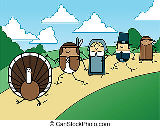 Turkey chase - Pilgrims and Indians chase a turkey on...