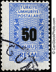 TURKEY - CIRCA 1900s: A stamp printed in Turkey with a face value of 30 kurus underprint 50, circa 1900s