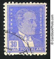 TURKEY - CIRCA 1942: stamp printed by Turkey, shows president Kemal Ataturk, circa 1942.