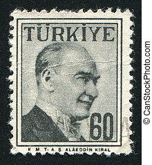 TURKEY - CIRCA 1954: stamp printed by Turkey, shows Kemal Ataturk, circa 1954.