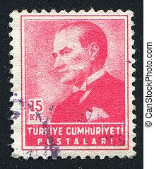 TURKEY - CIRCA 1954: stamp printed by Turkey, shows president Kemal Ataturk, circa 1954.