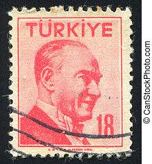 TURKEY - CIRCA 1957: stamp printed by Turkey, shows president Kemal Ataturk, circa 1957.