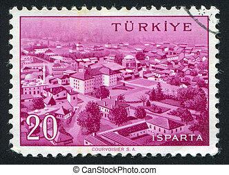 TURKEY - CIRCA 1959: stamp printed by Turkey, shows Turkish city, Isparta, circa 1959.