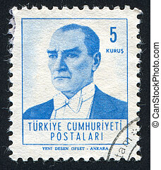 TURKEY - CIRCA 1961: stamp printed by Turkey, shows president Kemal Ataturk, circa 1961.