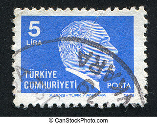 TURKEY - CIRCA 1979: stamp printed by Turkey, shows president Kemal Ataturk, circa 1979.