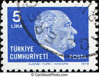 TURKEY - CIRCA 1981: A stamp printed in Turkey shows Mustafa Kemal Ataturk, circa 1981