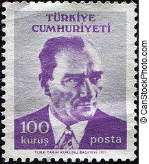 TURKEY - CIRCA 1982: A stamp printed in Turkey shows Mustafa Kemal Ataturk, circa 1982
