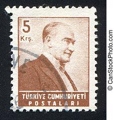 TURKEY - CIRCA 1982: stamp printed by Turkey, shows president Kemal Ataturk, circa 1982.