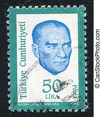 TURKEY - CIRCA 1983: stamp printed by Turkey, shows president Kemal Ataturk, circa 1983.