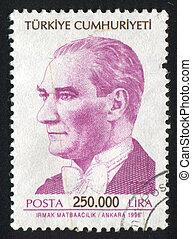 TURKEY - CIRCA 1999: stamp printed by Turkey, shows president Kemal Ataturk, circa 1998.