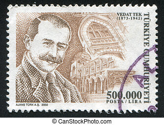 TURKEY- CIRCA 2002: stamp printed by Turkey, shows Vedat Tek, circa 2002