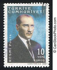 TURKEY - CIRCA 2005: stamp printed by Turkey, shows president Kemal Ataturk, circa 2005.