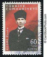 TURKEY- CIRCA 2006: stamp printed by Turkey, shows Kemal Ataturk, circa 2006