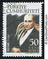 TURKEY - CIRCA 2007: stamp printed by Turkey, shows president Kemal Ataturk, circa 2007.
