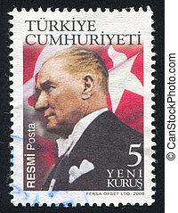 TURKEY - CIRCA 2008: stamp printed by Turkey, shows president Kemal Ataturk, circa 2008.