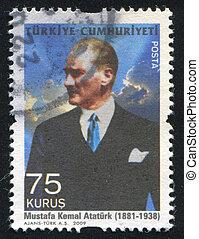 TURKEY - CIRCA 2009: stamp printed by Turkey, shows president Kemal Ataturk, circa 2009.