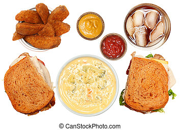Turkey Club, Broccoli Soup, Potato Wedges and Iced Tea Meal
