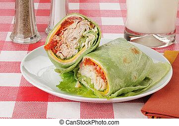 Turkey club wrap - a turkey club wrap in spinach tortilla...