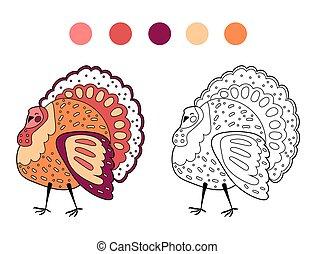 turkey., contour, coloration, page, mignon, dessin animé