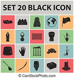 Turkey country black icons in set collection for...