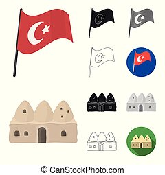 Turkey country cartoon, black, flat, monochrome, outline icons in set collection for design. Travel and attractions vector symbol stock web illustration.