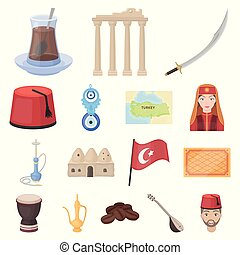 Turkey country cartoon icons in set collection for...
