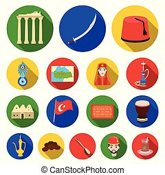 Turkey country flat icons in set collection for...