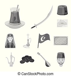 Turkey country monochrome icons in set collection for...