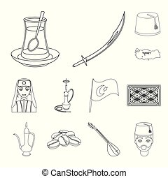 Turkey country outline icons in set collection for...