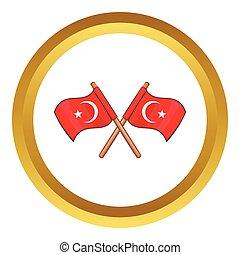 Turkey crossed flags vector icon