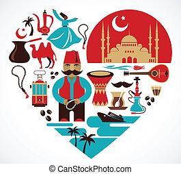 turkey-, cuore, con, set, di, vettore, illustrazioni