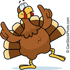 A happy cartoon turkey dancing and smiling.