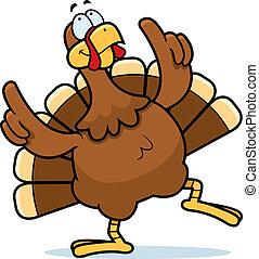 Turkey Dancing - A happy cartoon turkey dancing and smiling.