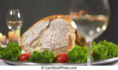 Turkey dinner served on Thanksgiving Day. Closeup of whole...